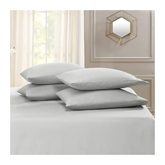 """6 Piece Queen Sheets - Bed Sheets Queen Size – Bed Sheet Set Queen Size - 6 PC Sheets - Deep Pocket Queen Sheets Microfiber Queen Bedding Sets Hypoallergenic Sheets - Queen - Silver Light Gray - WELCOME TO PARADISE: Discover the ultimate in high-end bedding with our silky smooth sheets and pillow shams! Empyrean bedding is woven from premium, high-quality microfiber material and double brushed on both sides for ultimate softness and comfort. Lightweight, breathable and cool to the touch, our luxuriously soft fitted sheet, flat sheet and pillow shams will create a heavenly sleeping experience! QUEEN SIZE: 6-piece set includes 1 deep pocket fitted sheet (60"""" x 80""""), 1 flat sheet (102"""" x 90"""") and 4 pillow cases (20"""" x 30""""). Our deep pocket fitted sheet has elastic all around the sheet as well as four additional elastic straps in each corner. This ensures a tighter, more secure fit that won't ride up or move around in middle of the night! Fits mattresses up to 16"""". Also available in Twin, Twin XL, Full, King, Split King and California King sizes. 5-STAR ELITE LUXURY: Create the bedroom of your dreams with our stunning selection of vibrant colors in a modern, elegant design! Beautiful, sophisticated and buttery-smooth, Empyrean bedding will provide you with irresistible comfort, rest and relaxation. Hotel-style luxury, sumptuous softness and classic style worthy of royalty are within your reach! - sheet-sets, bedroom-sheets-comforters, bedroom - 41sBWpPrVuL. SS570  -"""