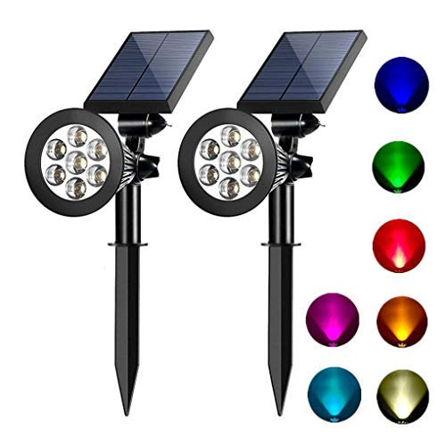 Solar spotlights outdoor 7 led multi color Solar Garden Lights for the patio law garden (changing & fixed color) 2 -