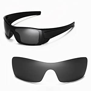 Walleva Replacement Lenses for Oakley Batwolf Sunglasses - Multiple Options Available (Black - Polarized)