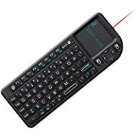 Rii Mini Wireless Bluetooth Keyboard Touchpad with Laser Pointer for Smartphone and Tablet, Black (mini X1 BT)