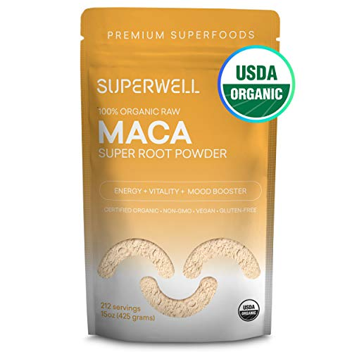 SUPERWELL Maca Powder (15 Oz / 212 Servings) | Maca Root Powder 100% USDA Organic | Raw | All Natural | Premium Superfood | Adaptogenic Herb Improves Health, Mood, Energy, Stamina & Balances Hormones