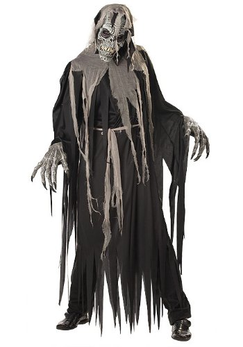 Ghastly Ghoul Adult Costumes (California Costumes Men's Ani-Motion Masks - Crypt Crawler Adult, Black/Grey, Medium)