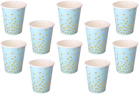 グリッター 金色のポルカドット 紙のカップ お祭り 祝日 食事会 使い捨て用品 10個入り ブルー