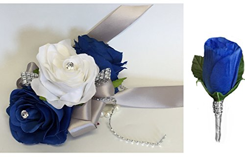 2pc Set - Royal Blue and White Wrist Corsage with Boutonniere Set (Wrist Corsage Prom)
