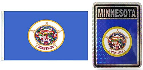- ALBATROS Set State of Minnesota 3 ft x 5 ft 3x5 Flag and 3ftx4ft Decal for Home and Parades, Official Party, All Weather Indoors Outdoors