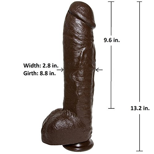 Doc-Johnson-Bam-Huge-13-Inch-Realistic-Cock-with-Removable-Vac-U-Lock-Suction-Cup-Base-Massive-85-Inch-Girth-Harness-and-F-Machine-Compatible-Dildo-Black