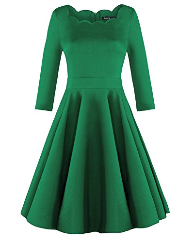OUGES Womens 1950s Scalloped Neck Vintage Cocktail Dress Green