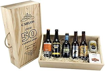 """Caja personalizada regalo """"Cumpleaños"""" degustación cerveza artesanal: Amazon.es: Alimentación y bebidas"""