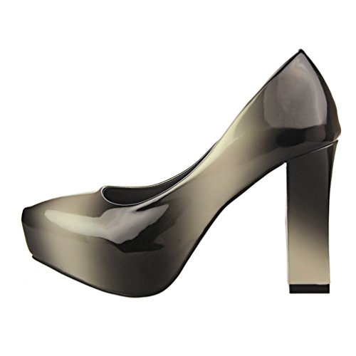 HooH Women's Sexy Gradient Platform Chunky Dress Pump Grey NtvZfEXDZX