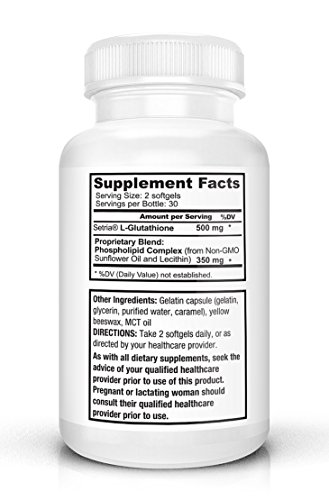 Optimized Liposomal Glutathione SOFTGELS 500mg NO-TASTE China-Free Reduced Setria Glutathione with PC Complex 350mg USA NON-GMO NO-SOY Supports Immune Function Liver Detox Brain Health Discount