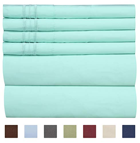 Queen Size Sheet Set - 6 Piece Set - Hotel Luxury Bed Sheets - Extra Soft - Deep Pockets - Easy Fit - Breathable & Cooling Sheets - Wrinkle Free - Comfy - Spa Blue Sheets - Queens Sheets - 6 PC (Bag In Bed Brushed A Cotton)