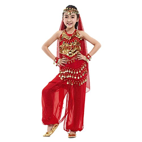 Pilot-trade Kid Elegant Belly Dance Suit for Children Costume 5 Pieces ( Red , L ) - Kids Christmas Dance Costumes