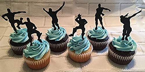 MJHE 24 Pcs Dance Floss Cupcake Toppers pour Enfants,Fournitures de f/ête danniversaire D/écoration de g/âteau