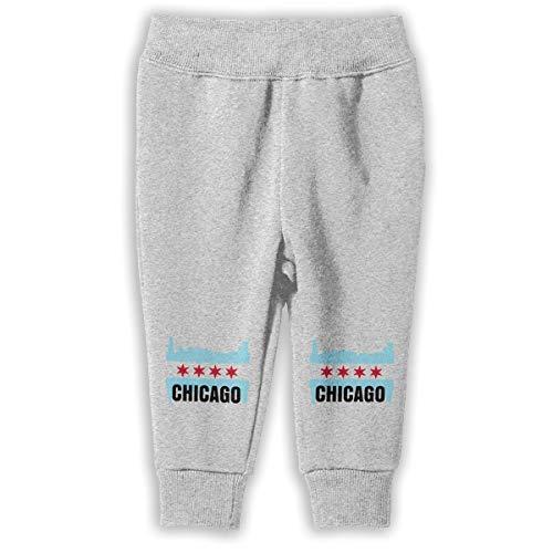 UGFGF-S1 USA Chicago Flag Children Baby Boys Girls Jogger Pants Jogger Sweatpants 2-6 Toddler