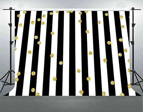 F-FUN SOUL Stripes Cotton Backdrop Gold Dots White Black Vertical Stripes Backgrounds for Photography Events Banner Birthday Party Photo Shooting Props 7x5ft/2.1x1.5m LHFS139 ()