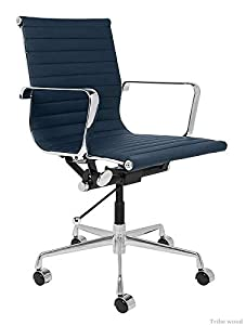 Tribe wood Funiture - Medium Back Revolving Office Chair with Armrest Support Comes with leatherite Finish(Blue)