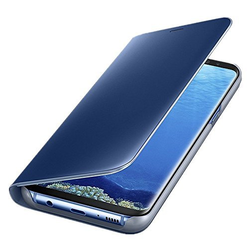 Samsung Galaxy S6 Edge Plus Slim Multi-Function Mirror Case S-View Stand flip Protection Cover (Blue)