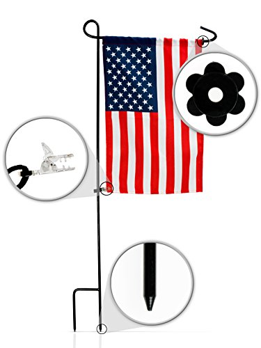 GreenWeR Garden Flag Stand with American Flag by Wrought Iron Flag Stand, Anti-Wind Clip, Stopper, Weatherproof 2 Sided 12×18 Inch Patriotic US Flag Banner For Sale