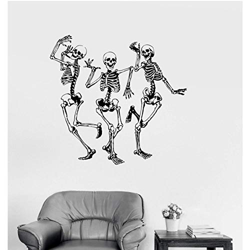 wsydd Street Dance Stickers Vinyl Wall Applique Funny Dance Bone Party Horror Halloween Stickers, Fashion Home Decor Living Room 60x57cm ()