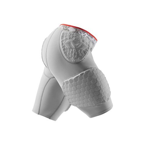 McDavid Hex Dual-Density Shorts with Contoured Wrap-Around Thigh, Gray, Small -