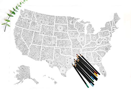 Floral Travel Map or Political Map of USA States to Color In as DIY Flowers Wall Art, Adult Coloring Poster ()