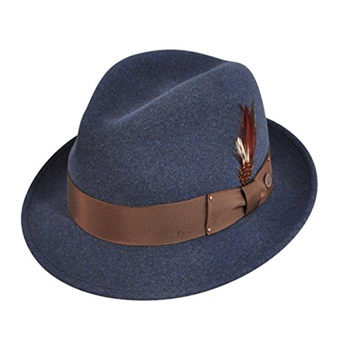 Bailey Of Hollywood Mens Tino Litefelt Fedora Hat Denim Mix M (Denim Mix)