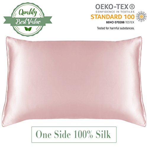 MYK 100% Pure Natural Mulberry Silk Pillowcase, 19 Momme with Cotton underside for Sensitive Skin, Toddler 12