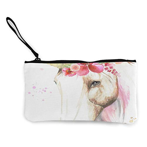 Coin Purse Watercolour Unicorn With Flower Crown Men Fastener Canvas Wallet TravelCustomized Holder