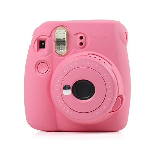 Ngaantyun Soft Silicone Camera Bag Jelly Protective Case Skin Cover for Fujifilm Instax Mini 8/8+/9 Instant Film Camera - Pink