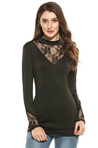Zeagoo Women's Plus Size Floral Lace Mock Neck Semi-Sheer Long Sleeve Shirt Top 41sBd3cQumL