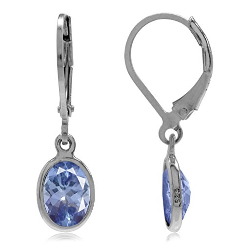 (2.64ct. 8x6MM Genuine Oval Shape Tanzanite 925 Sterling Silver Drop Dangle Leverback Earrings)