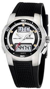 Festina Sport World Time F6738/A - Reloj analógico - digital de cuarzo para hombre, correa de goma color negro (cronómetro, alarma)