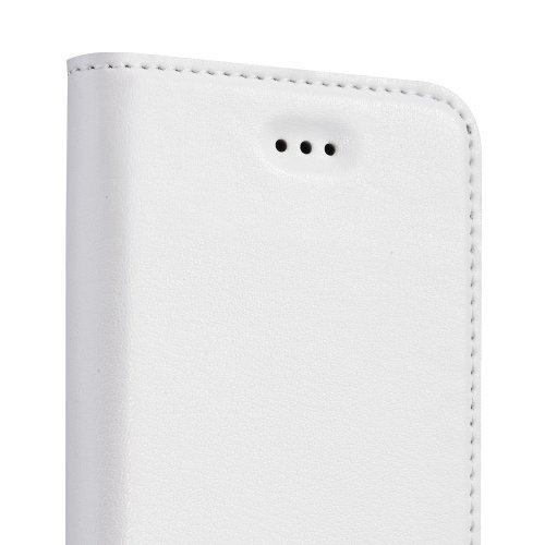 GGMM Kiss-M iPh01902 echtes Leder Abdeckung Schutzhülle mit Spiegel für Apple iPad/iPhone 5/5 s weiß
