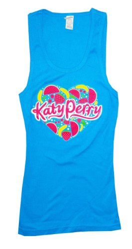 Katy Perry Fruit Heart Logo Blue Ribbed Tank Top New Juniors (Medium)