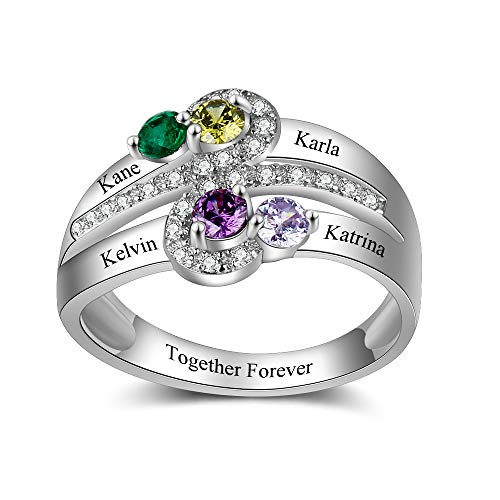 Fortheday Personalized Mother Rings for Women with 4 Simulated Birthstones Customized 4 Name Nana Rings ()
