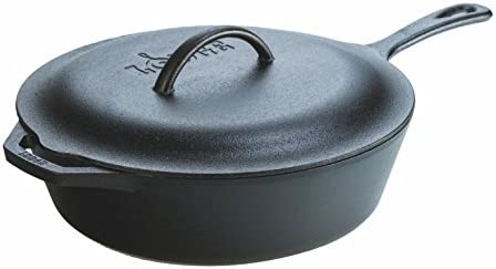 Lodge L10CF3 Cast Iron Covered Deep Skillet, Pre-Seasoned, 5-Quart