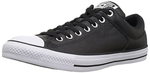 Converse Men's Street Leather Low Top Shoe, Black/Black/White, 12 M US