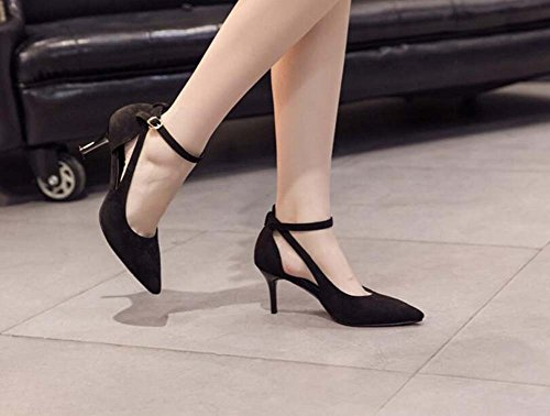 Shoes Shoes D'orsay 34 Ankle Eu Stiletto Court Toe Strap Dress Ol Pump Shoes Hollow Women 7cm High Color Heels 39 Black Pointed Simple Work Pure Size zAwgPZ