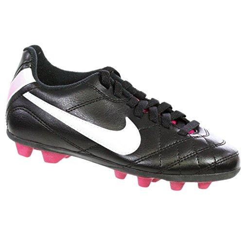Nike Kids JR Tiempo Rio Soccer Cleat Black/Fireberry/Whit...