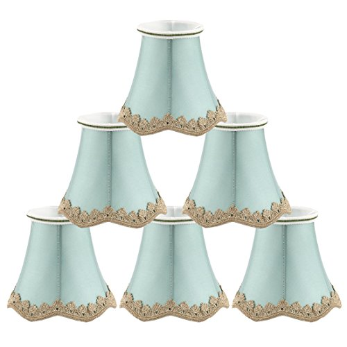 uxcell Chandelier Wall Ceiling Clip on Lamp Shades Light Cover 3x5.3x4.7 Inch, Set of 6 Seagreen by uxcell