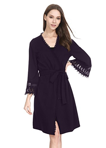 lantisan Modal Cotton Soft Robe for Women, Long Kimono Full Length Dressing Gown (M(US8-10), Purple-B)