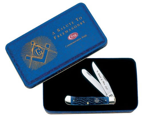 Case Cutlery 1058 Case Masonic Trapper Pocket Knife with Stainless Steel Blades Gift Tin   Blue Bone, Outdoor Stuffs