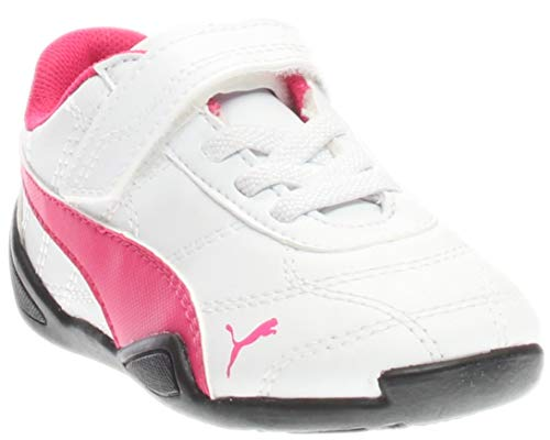 PUMA Girls' Tune CAT 3 V INF Sneaker White/Fuchsia Patent, 9 M US Toddler