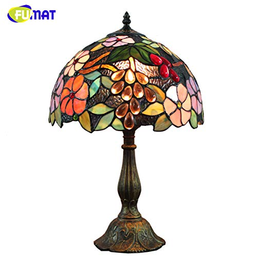 (FUMAT Bedside Table Lamp LED E26 Bulb Tiffany Stained Glass Grape Rose Handmade Shade ON Off Switch 12 Inch Bedroom Home Deco Light)