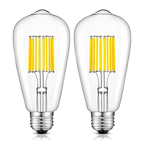 WUHOSTAM 10W LED Edison Bulb 5000K Cool White 1000LM, E26 Medium Base Lamp, ST21 (ST64) Antique Style Shape, 100W Incandescent Replacement, 2 Pack ()