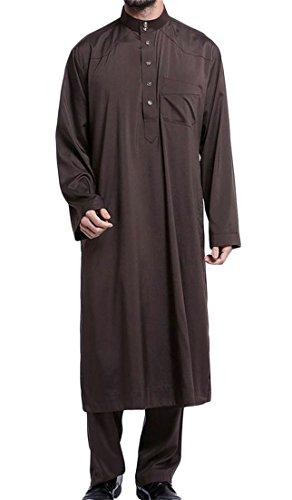Wopop Mens 2 Pcs Abaya Stand Collar Casual Dubai Saudi Muslim Pants Long Sleeve Set Coffee XXXL by Wopop