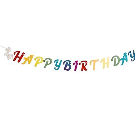 Amosfun feliz cumpleaños buntting banner guirnalda fiesta de ...