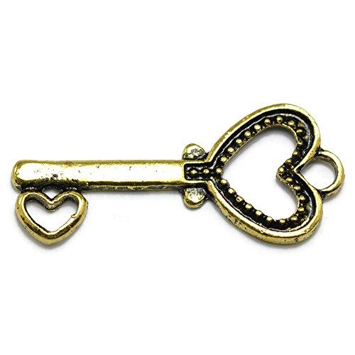 20 Heart Key Charms gold tone skeleton key
