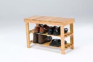 SoBuy FSR05-N - Zapatero en forma de banco (bambú, compartimentos de almacenamiento, 70 x 28,5 x 45 cm)