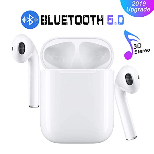 Bluetooth 5.0 Earbuds Wireless Headphones Hi-Fi Sound Bluetooth Headset with Mini Charging Case 24Hrs Extended Playtime Pop-Up Pairing for iPhone/Samsung/Apple/Airpods Sports Earphone … (Whtie)
